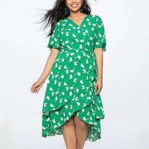 ELOQUII Wrap Dress with Layered Skirt, Green